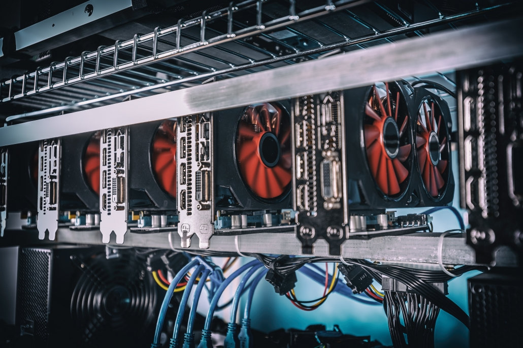 Cryptocurrency mining rig using graphic cards to mine for digital assets
