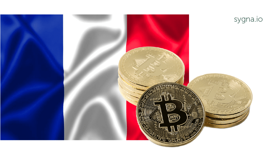 French flag with Bitcoin icon