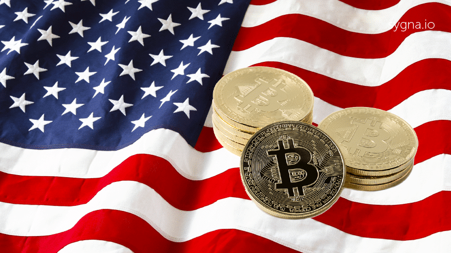 U.S. flag with cryptocurrencies bitcoin