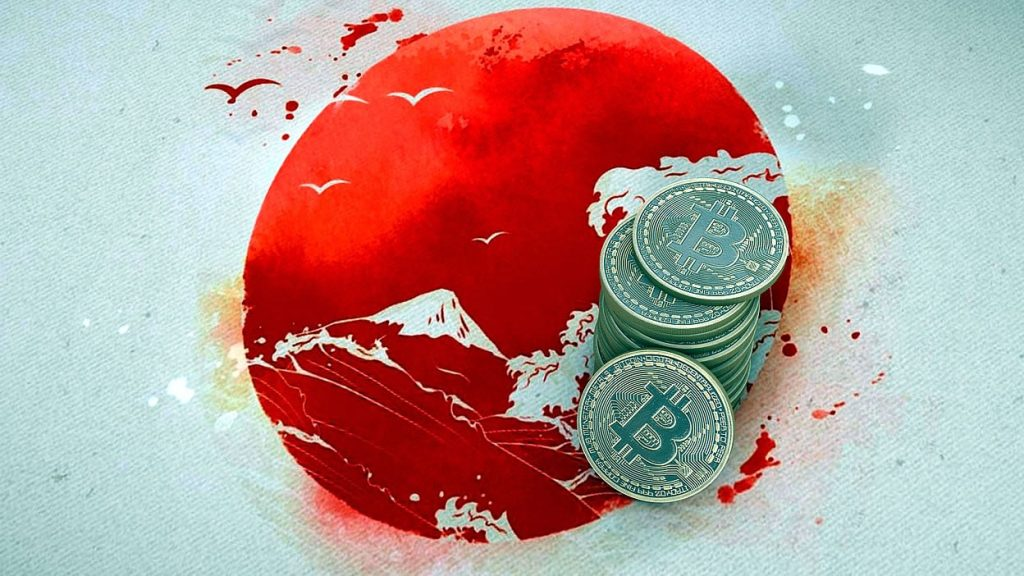 japan flag with bitcoin on it